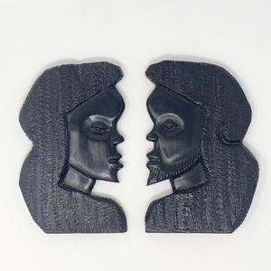 Congo African art faces raw ebony wood carvings